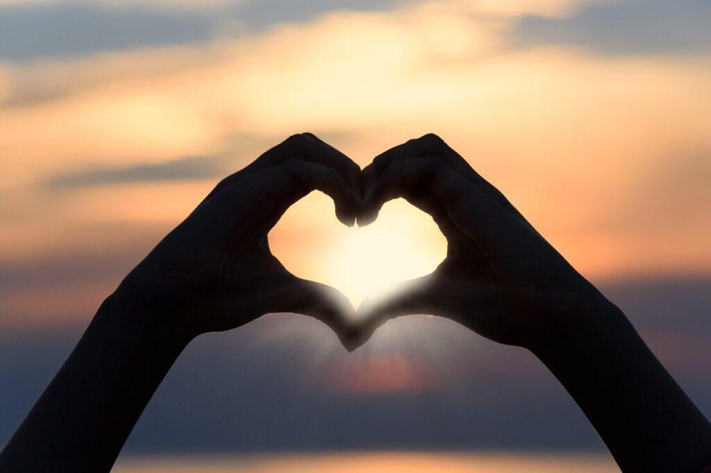 heart, love, sunset